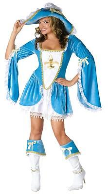 ADULT MADAM MUSKETEER MINI DRESS 3 PC COSTUME S/M FW121454](3 Musketeer Costume)
