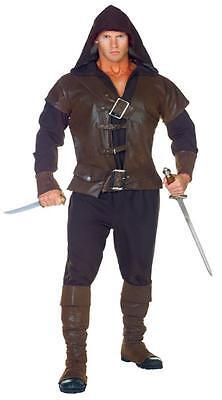 ADULT ASSASSIN HOODED VEST BELT BOOT COVERS RENAISSANCE MEDIEVAL COSTUME UR29430 - Medieval Vests