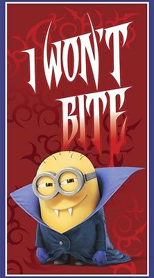 Won Halloween (HALLOWEEN  VAMPIRE MINIONS  I WON'T BITE  COTTON FABRIC PANEL  FREE US)