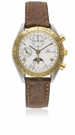 Gents Steel and Gold Omega Speedmaster Moonphase watch with omega box