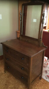 Newly Refinished Vintage Dresser & Swingback mirror