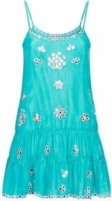 JULIET DUNN  London turquoise Mirror-work silk cami mini dress cover up £328
