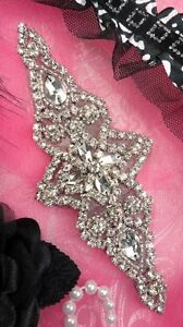 JB47 Black Silver Beaded Crystal Rhinestone Applique Iron-On 6