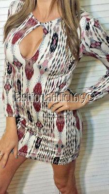 Boutique Long Sleeve Boho Keyhole Mini Festival Ikat Indy Print Dress Choker LRG
