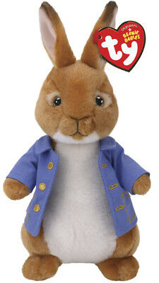 "2018 TY Beanie Baby 8"" PETER RABBIT Plush Animal Stuffed Toy MWMT's Heart Tags"
