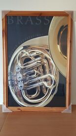 Photo Frame with french horn picture. Poster size: 33 inch x 23 inch.