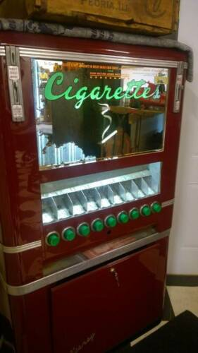 "RARE Vintage c1952 ""KEENEY"" CIGARETTE Tobacco soda Art dec Vending Machine NICE"