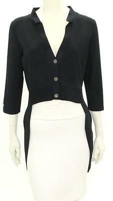 Chanel Black Knit Button Up Asymmetrical Jacket 11P Size 44 NEW $2820