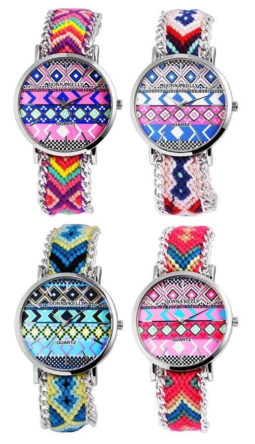 Donna Kelly Armbanduhr Damenuhr Stoffband mit Metall Mehrfarbig Damen
