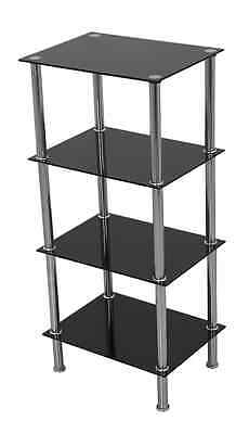Black Glass 4 Tier Wide Shelving Unit Shelf Storage Cabinet Metal Chrome Legs