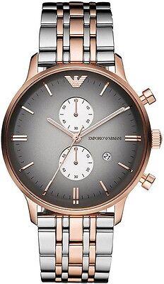 100% AUTHENTIC Emporio Armani Men's AR1721 Chronograph Rose Gold Silver Watch (Emporio Armani Ar1721)