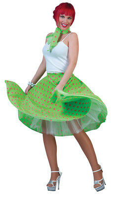 Sock Hop Skirt Green Pink 50s Adult Womens Costume Retro Theme Party - Green Themed Halloween Costumes