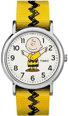 Timex TW2R41100, Peanuts-Charlie Brown Weekender Yellow Slip Thru Fabric Watch