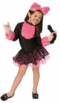 CUTIE CAT CHILD GIRLS COSTUME Kids Pink Black Dress Animal Theme Party Halloween