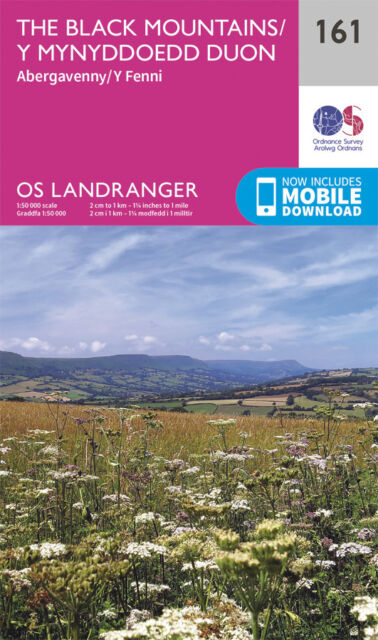 THE BLACK MOUNTAINS LANDRANGER MAP 161 - Ordnance Survey OS NEW 2016 + DOWNLOAD
