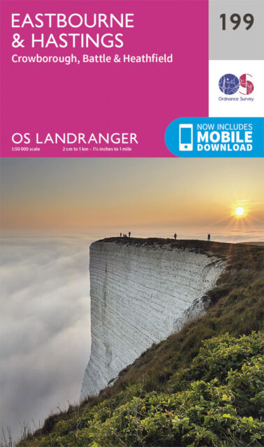 EASTBOURNE & HASTINGS LANDRANGER MAP 199 - Ordnance Survey - OS  NEW 2016