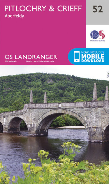 PITLOCHRY & CRIEFF LANDRANGER MAP 52 - Ordnance Survey - OS - NEW 2016