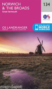 NORWICH & THE BROADS LANDRANGER MAP 134 - Ordnance Survey - OS - NEW 2016