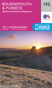 BOURNEMOUTH & PURBECK LANDRANGER MAP 195 - Ordnance Survey - OS - NEW 2016