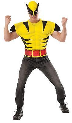 Erwachsene Marvel Comics Wolverine Muskel Brust & Maske Kostüm - Marvel Comic Kostüm