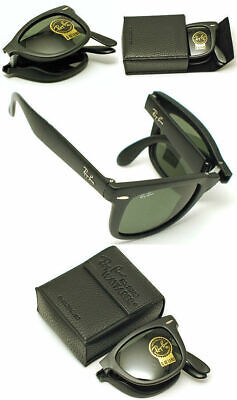 New Authentic Ray-Ban RB 4105 601 Black Frame / Green Folding Wayfarer Lens (Wayfarer Folding Ray Ban)