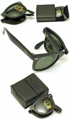 New Authentic Ray-Ban RB 4105 601 Black Frame / Green Folding Wayfarer Lens (Rayban 4105)