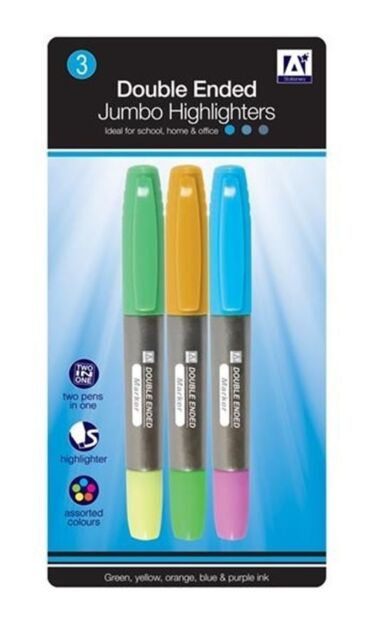 Anker - Pack Of 3 Double Ended Jumbo Highlighters Assorted Colours school office