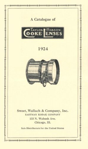 Taylor-Hobson Cooke Lenses 1924 Catalog with Prices Reprint