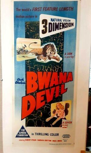 poster on linen BWANA DEVIL 1953 First Color 3-D Australian Daybill LINENBACKED