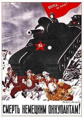 Death to German invaders! WW2 Russian Propaganda Poster Fight USSR WWII 1942 - German Ww2 Propaganda Posters