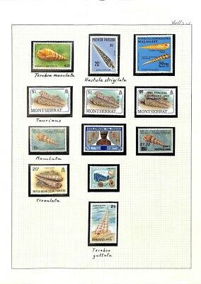[OP7868] Worldwide Shells lot of stamps on 12 pages