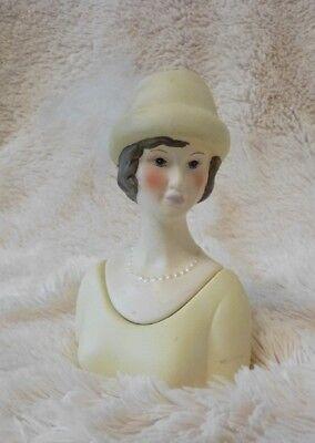 Lady in a Hat Bust Trinket Box Porcelain Lady Trinket Box Jewelry Box Feather