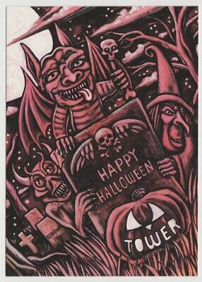 TOWER RECORDS Happy Halloween Cemetary Witch Go Card Rack Advertising Postcard - Halloween Cemetary