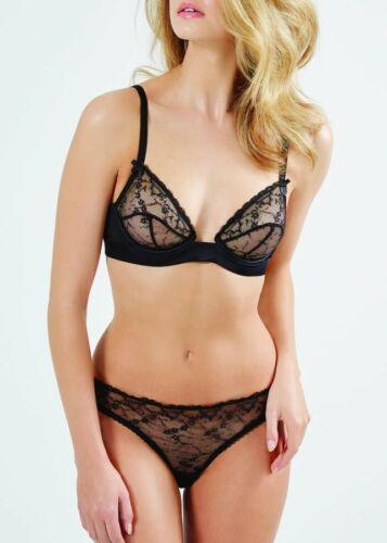 Mimi Holliday HOLD ME Black Lace Silk Blend UW Triangle Bra & Corset Bikini - L