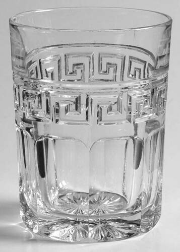 HEISEY GREEK KEY CLEAR GLASS 8OZ TUMBLER