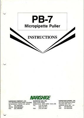 Narishige Pb-7 Microscope Micropipette Puller Instructions On Cd L0191