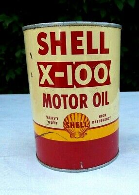 Vintage SHELL X-100 Motor Oil Can Metal Can 1 US Quart FREE SHIPPING