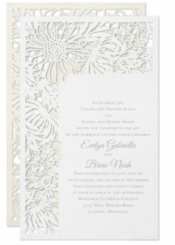 Wedding Invitations Personalized Laser Cut Garden Flower Border Thermography
