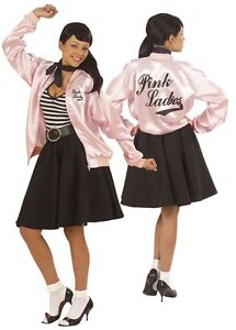 Deluxe 1950s Grease Pink Lady Ladies Jacket Fancy Dress  Plus Size XL 18-22