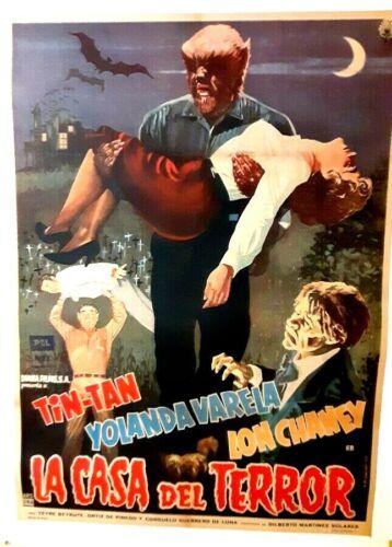 poster on linen La CASA Del TERROR 1960 Lon Chaney Jr MEXICO 1sht LINENBACKED