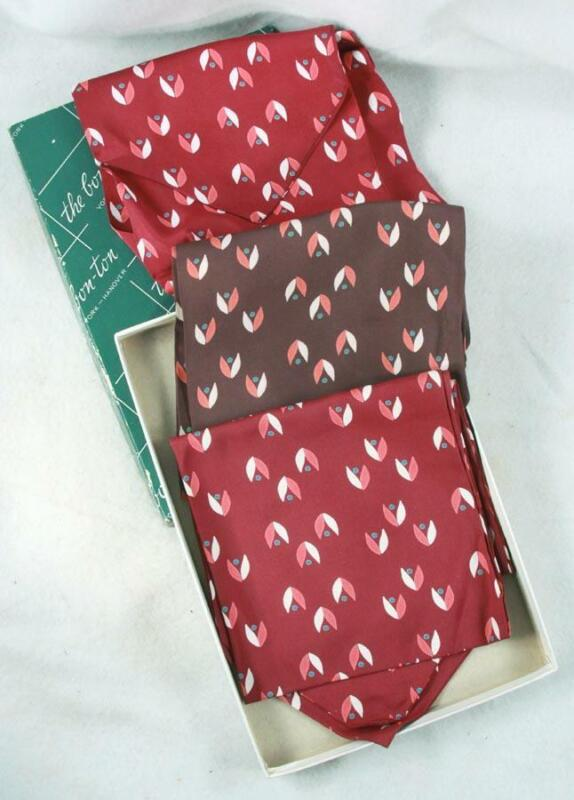 3 Vintage 1960s Mens Ascot Cravat Scarf New in the Box Wine & Brown
