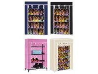 4 Tier Canvas Cover Shoe Storage Rack Shelf Cupboard Shoe Organizer Various Colors