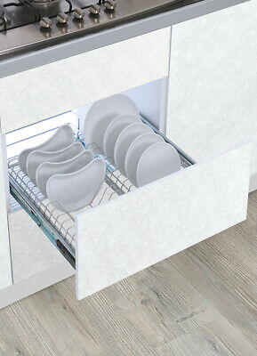 Door Mounted Pull Out Cabinet Plate and Dish Organizer Storage Holder