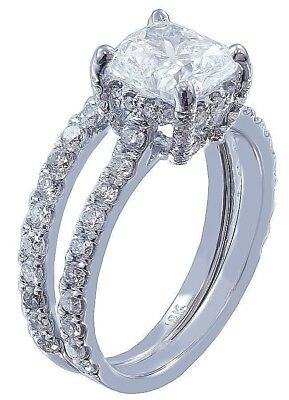 GIA I-SI1 18k Whtie Gold Cushion Cut Diamond Engagement Ring And Band 2.20ctw