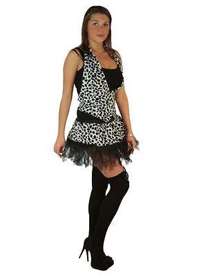 Cruella Deville Outfit (Ladies Cyber Dalmatian Fur Cruella Deville Spots Fancy Dress Full Set)