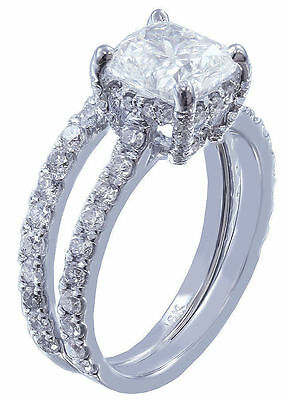 GIA I-SI1 18k Whtie Gold Cushion Cut Diamond Engagement Ring And Band 2.20ctw 3