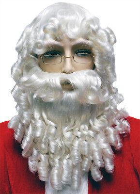 Weihnachtsmann Satz Lockig Weiß Perücke und Bart mit - Perücke Und Schnurrbart