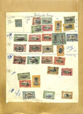 [OP7993] Belgian Congo lot of stamps on 12 pages