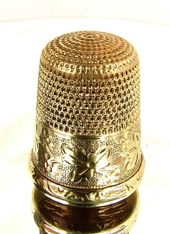 14KT GOLD THIMBLE *SIMON BROS* ENGRAVED SIZE 9 VICTORIAN NO MONOGRAM c.1880