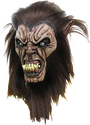Halloween Costume FEARFUL WOLFMAN WITH HAIR High-Quality Latex Deluxe Mask ](Deluxe Werewolf Halloween Costume)